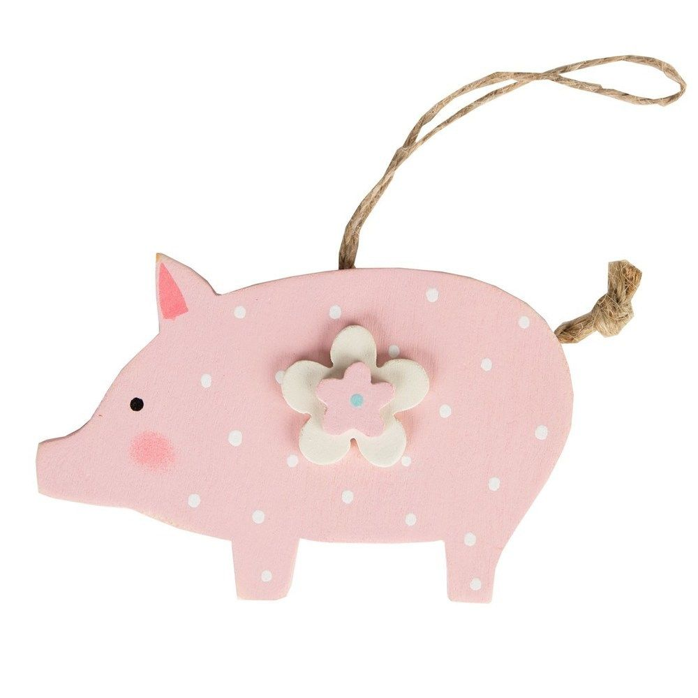 Polka dot pig wooden hanging decoration jan featured shops