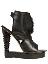 ALAIN QUILICI  135MM LEATHER AND FUR OPEN TOE WEDGES