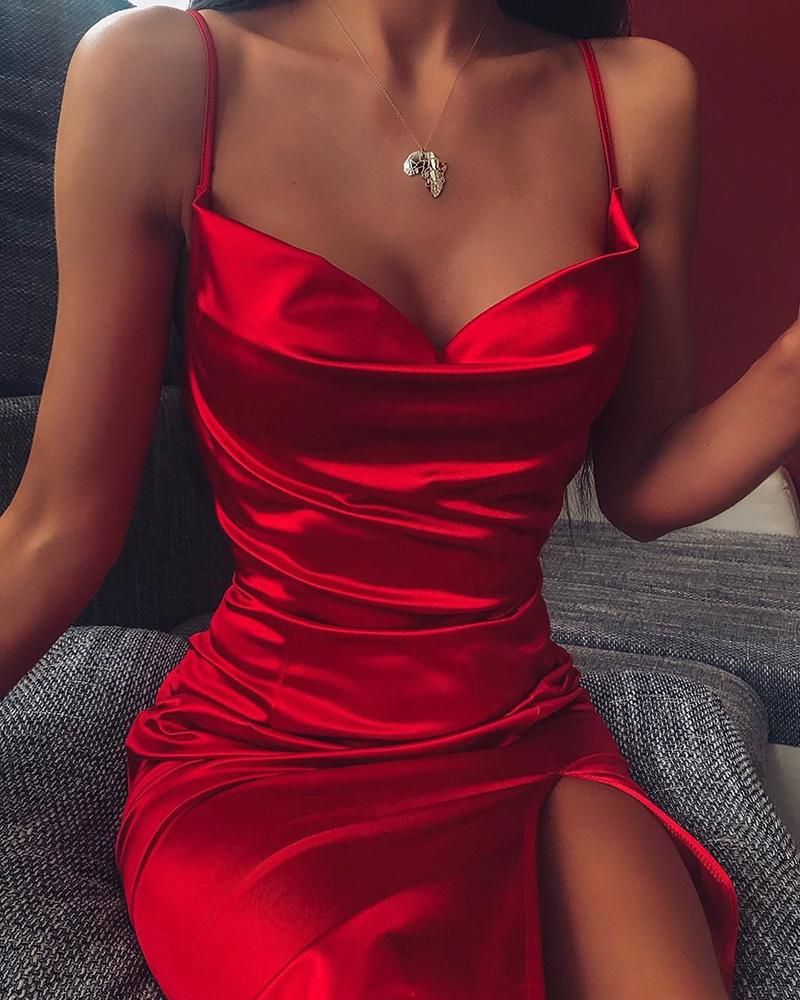 Photo of Spaghetti Strap Bodycon Slit Dress