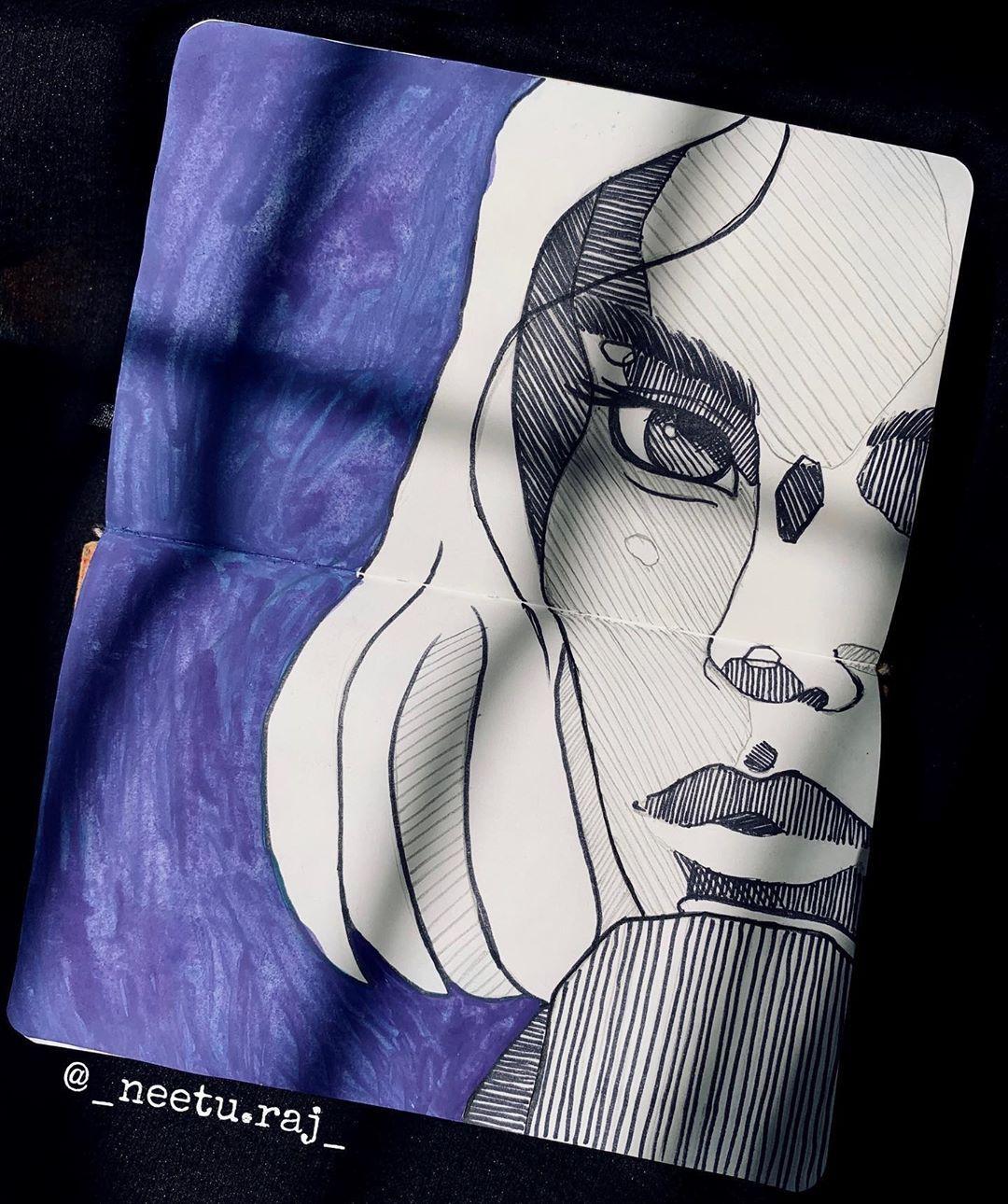 "N E E T U R A J    ArtPage   's Instagram photo: ""Once again I tried recreating @polina.bright 's sketch!! 💫 🙈 . . . . . . . . . . . #neeturajart #creativityart #journalsketch #sketchbook…"""