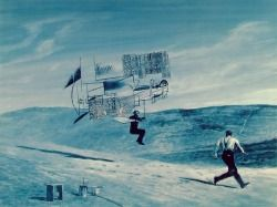 billy-pilgrim-vs-the-world:  Mark Tansey's Picasso and Braque shows the two artists, who shared an apartment for years and made art during this period that without identifying marks can be virtually indistinguishable from one another's work, with the whimsy factor turned up to 11, as the fake wright brothers trying their collage flying machine out.