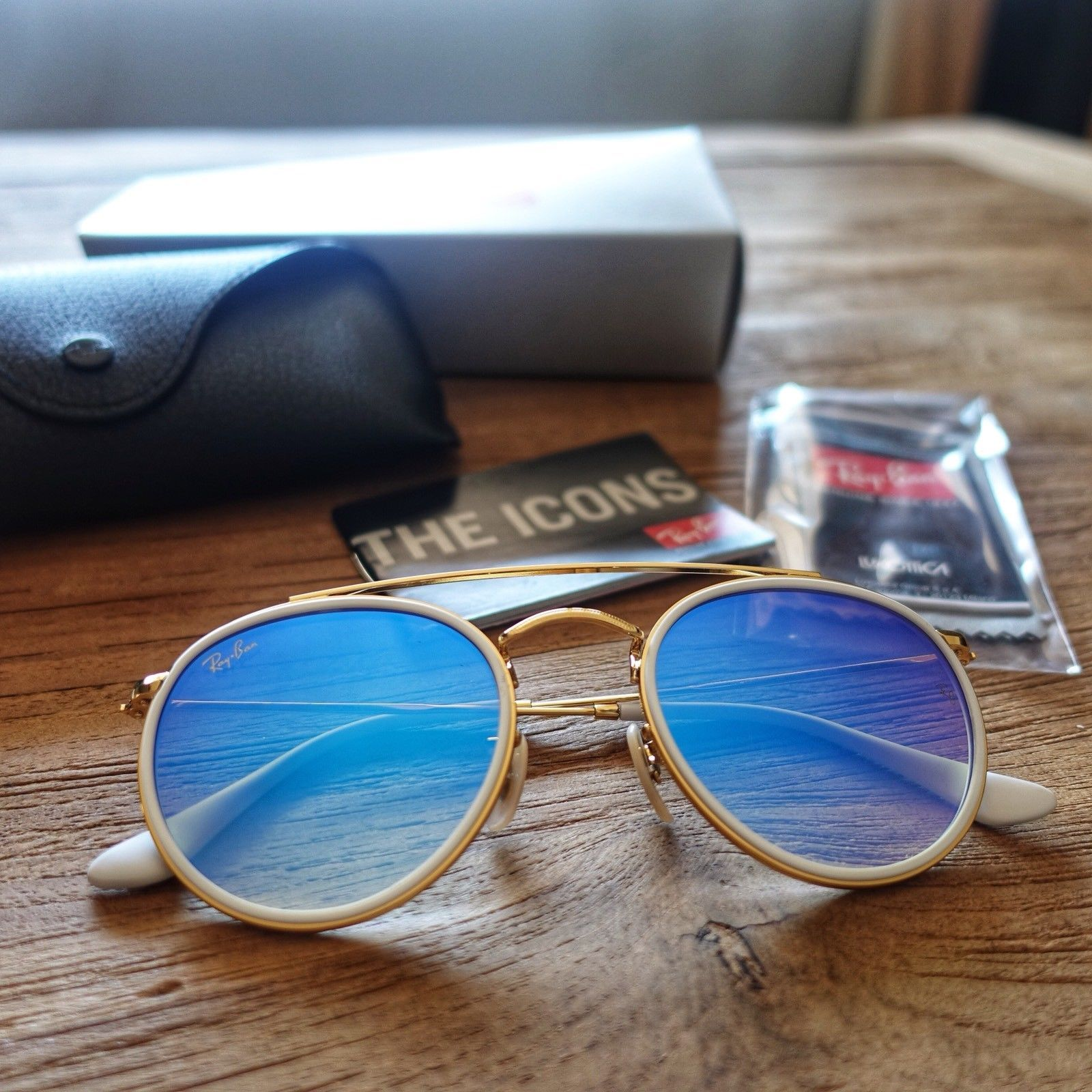 c9a1c1382 RB3647N 001/4O 51-23 Blue Gradient Flash Ray-Ban Round Double Bridge  Sunglasses | eBay