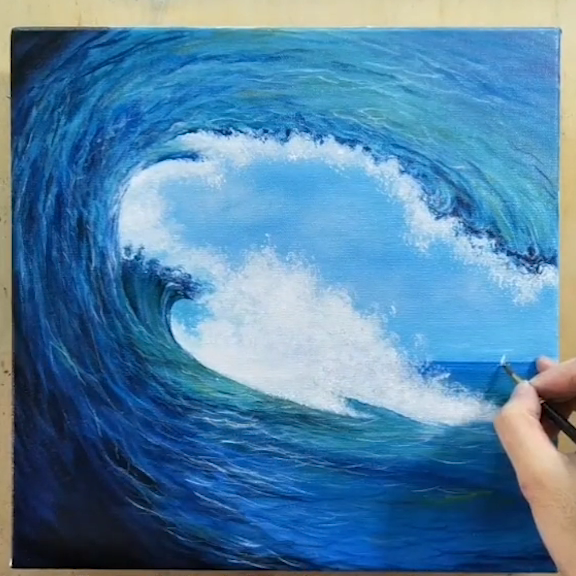 Waves acrylic painting for beginners | How to paint ocean waves | Very easy in 11 min..!!!