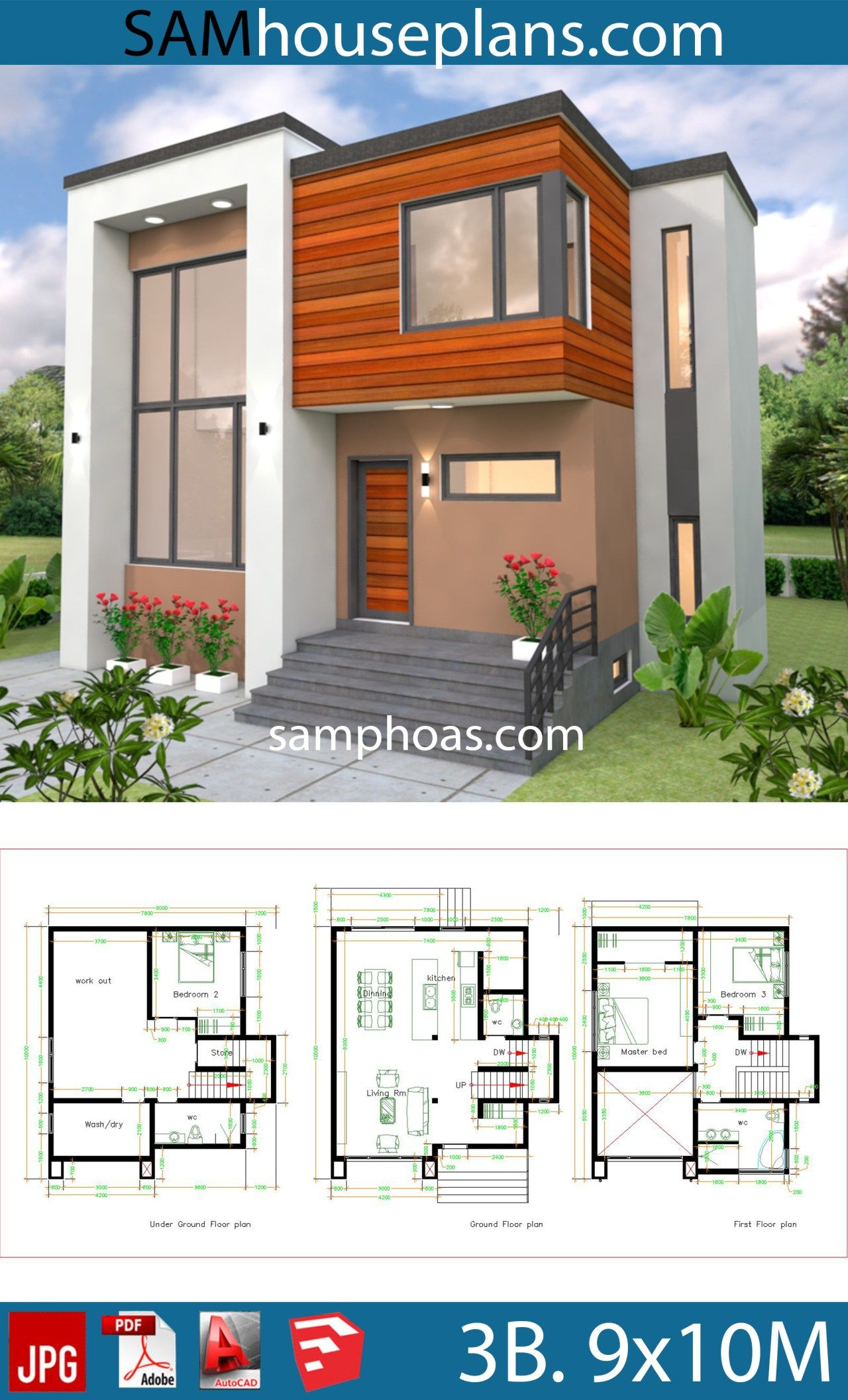 house plans 9x10 with 3 bedrooms - samphoas plan | small