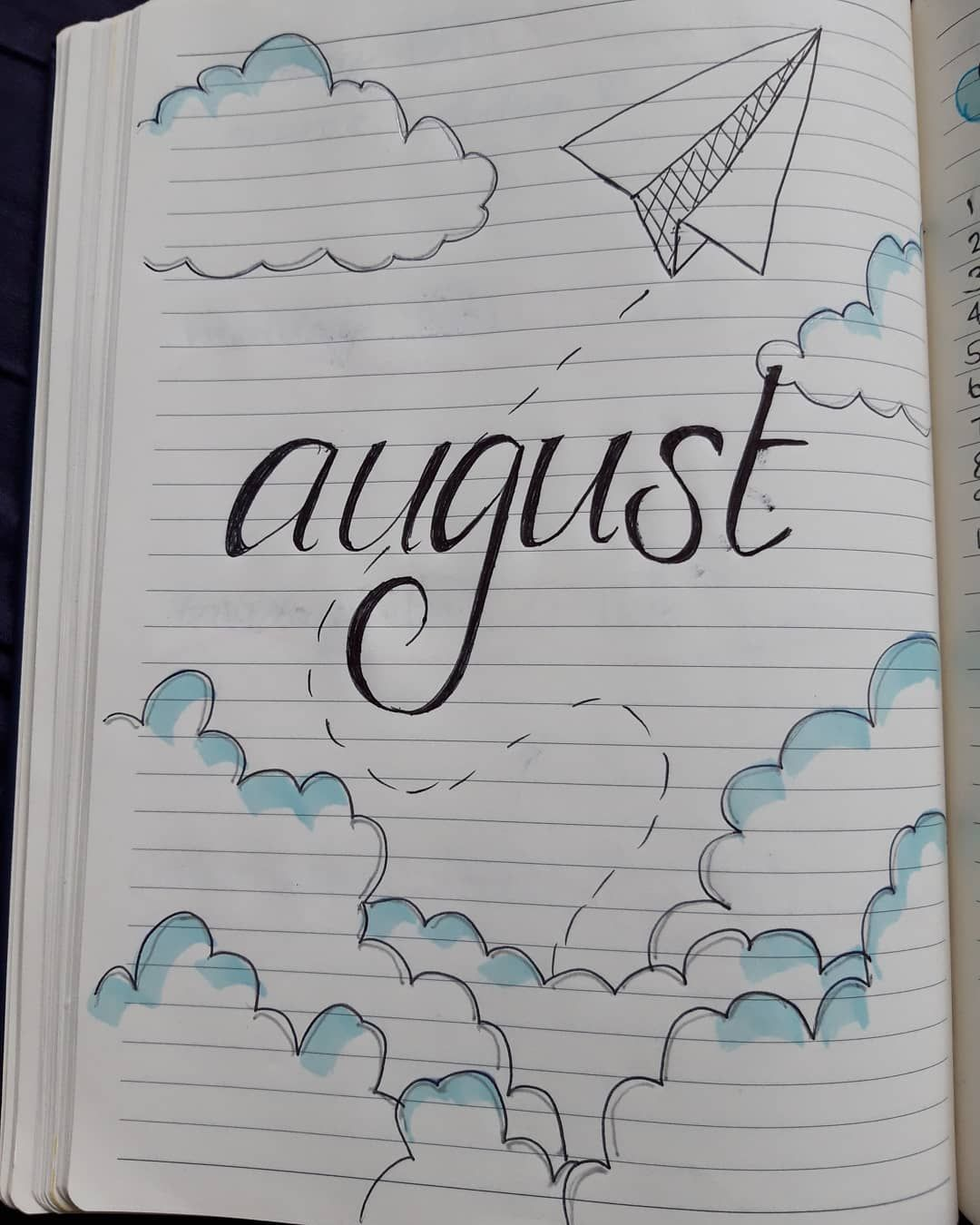 August bullet journal page is one of my favourites #bulletjournal #august #drawing #art #paperplanes #augustbulletjournal