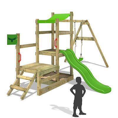 Superb FATMOOSE RabbitRally Racer XXL Spielturm Rutsche Schaukel Holz Garten Kindersparen sparen de