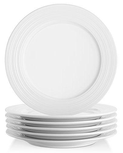 Lifver 10 Inch Porcelain Dinner Plates Serving Platters With Embossed Ring Rim Round Elegant White Set Of 6 All4hiking Com Plates Dinner Plates Dinner Plate Sets