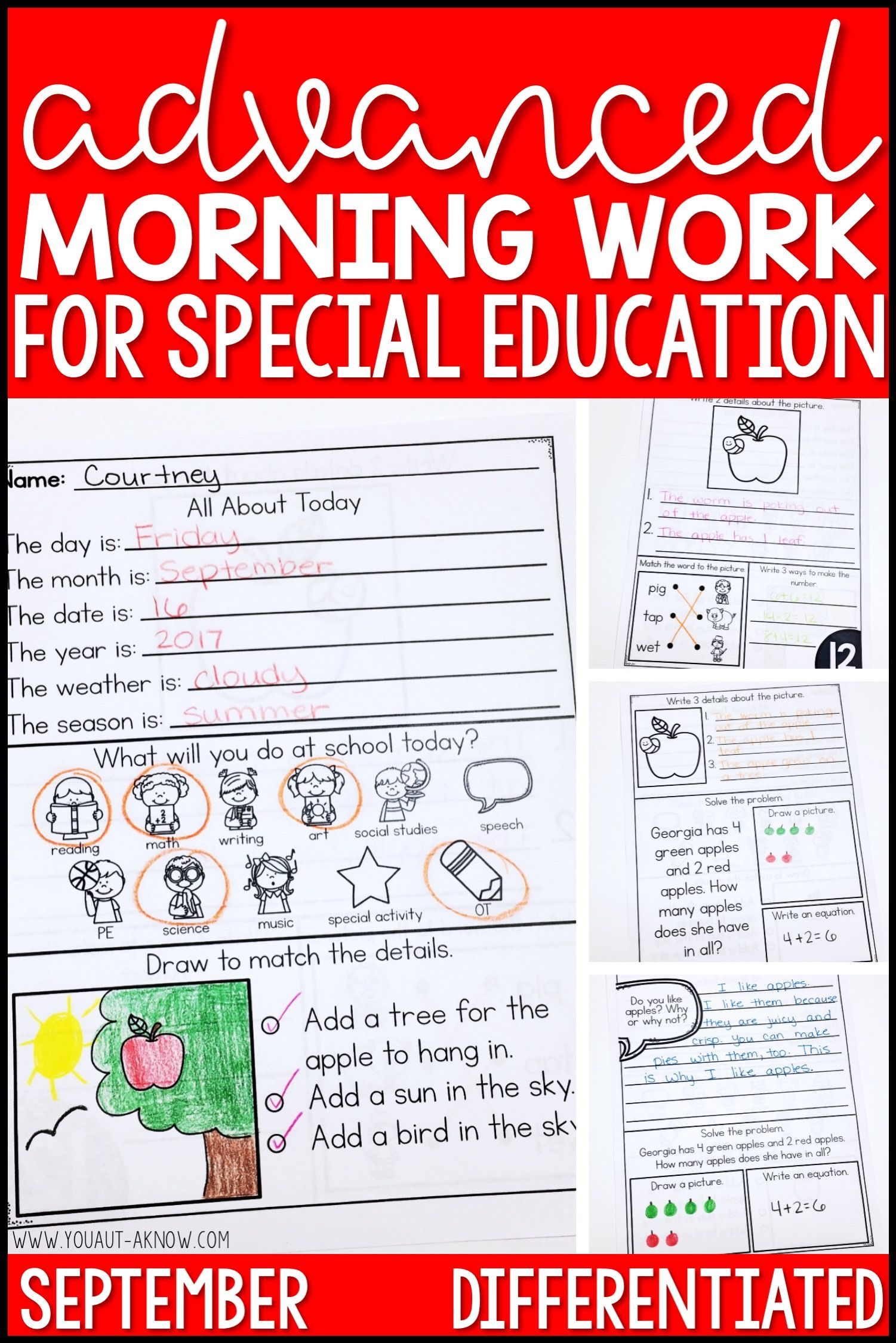 Advanced Special Education Morning Work September Edition