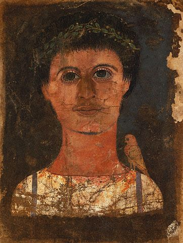 This rare Mummy Portrait of a Young Man is a painting on linen fabric. A preferred material for ancient portrait painters, linen was also the material of choice for Greek as well as Roman clothes. The quality of the weave would reflect the status of the wearer; the finer the weave the more expensive the garment. (The J. Paul Getty Museum, Villa Collection, Malibu, California)