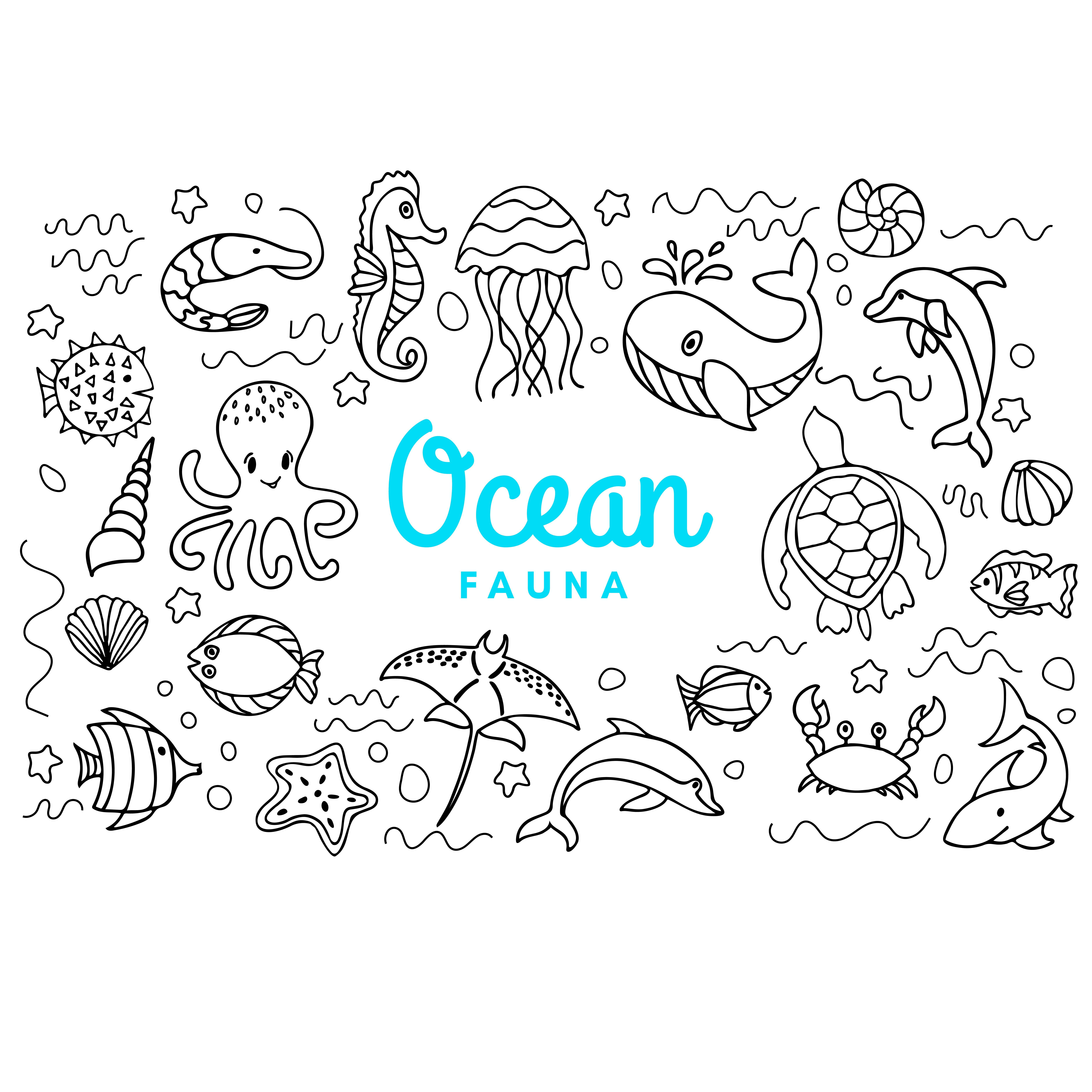 Ocean fauna cute cartoon doodle set. Aquatic sea fauna