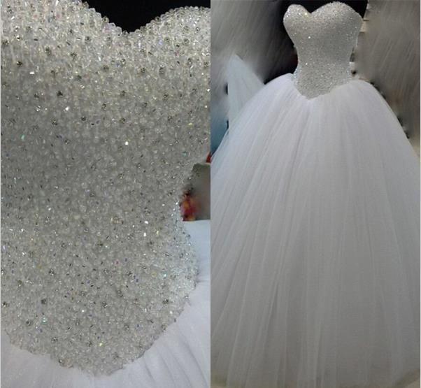Günstige Luxus Weiß Schwere Perlen Prinzessin Hochzeitskleid ...