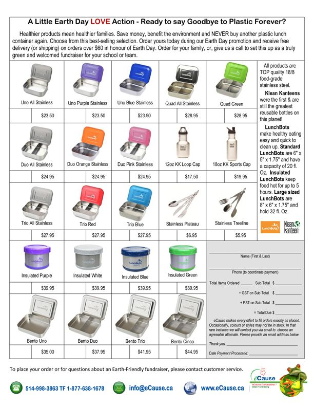 Litterless Lunch Earth Day Order Form Which Can Be Custom Designed