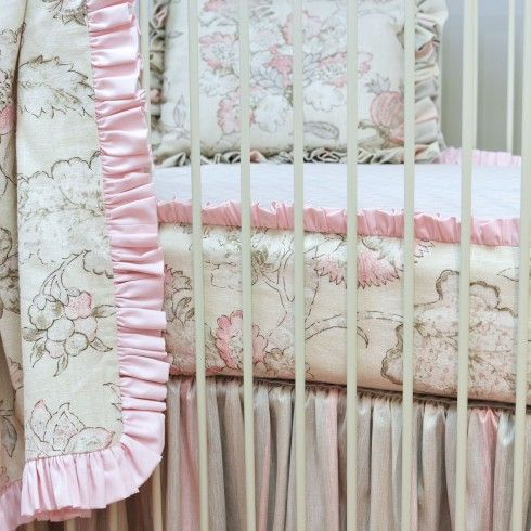 Peony Bumper-less Bedding (shown with Bumperless Crib Sheet)
