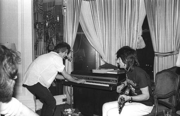 Keith and Ronnie jamming in a hotel-room