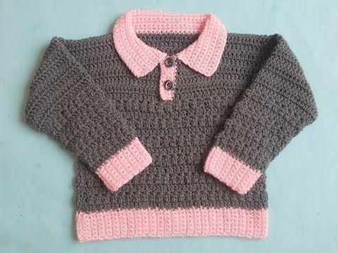 Crochet-Crosia) How to crochet collar baby cardigan Tutorial ...