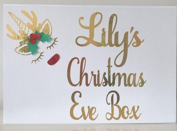Photo of Christmas Eve Box | Personalised Christmas gift box | Kids Christmas present box | Unicorn Reindeer | Magnetic Closure