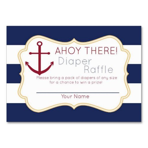 Nautical Ahoy There Diaper Raffle Ticket Large Business Cards ...