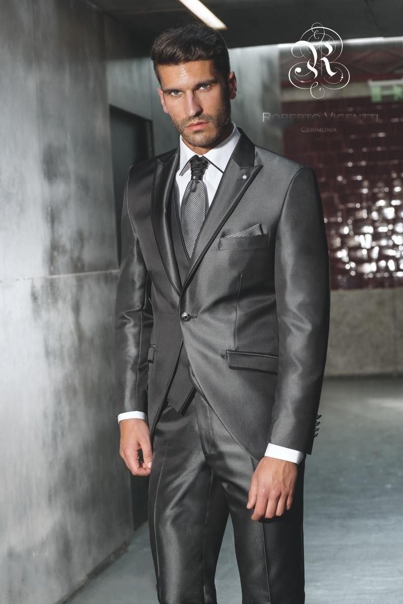 New Arrival Groom Tuxedo Shiny Grey Groomsmen Peak Lapel Wedding/Dinner Suits Best Man Bridegroom (Jacket+Pants+Tie+Vest)B334 #Affiliate
