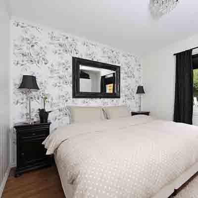 Black White Gray Bedroom Loving The Wallpaper On One Wall Wallpaper Design For Bedroom Black Wallpaper Bedroom White Bedroom Design