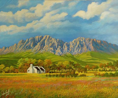 South Africa Cape Mountains Painting By Don Bell Western Landscape Mountain Paintings South African Artists