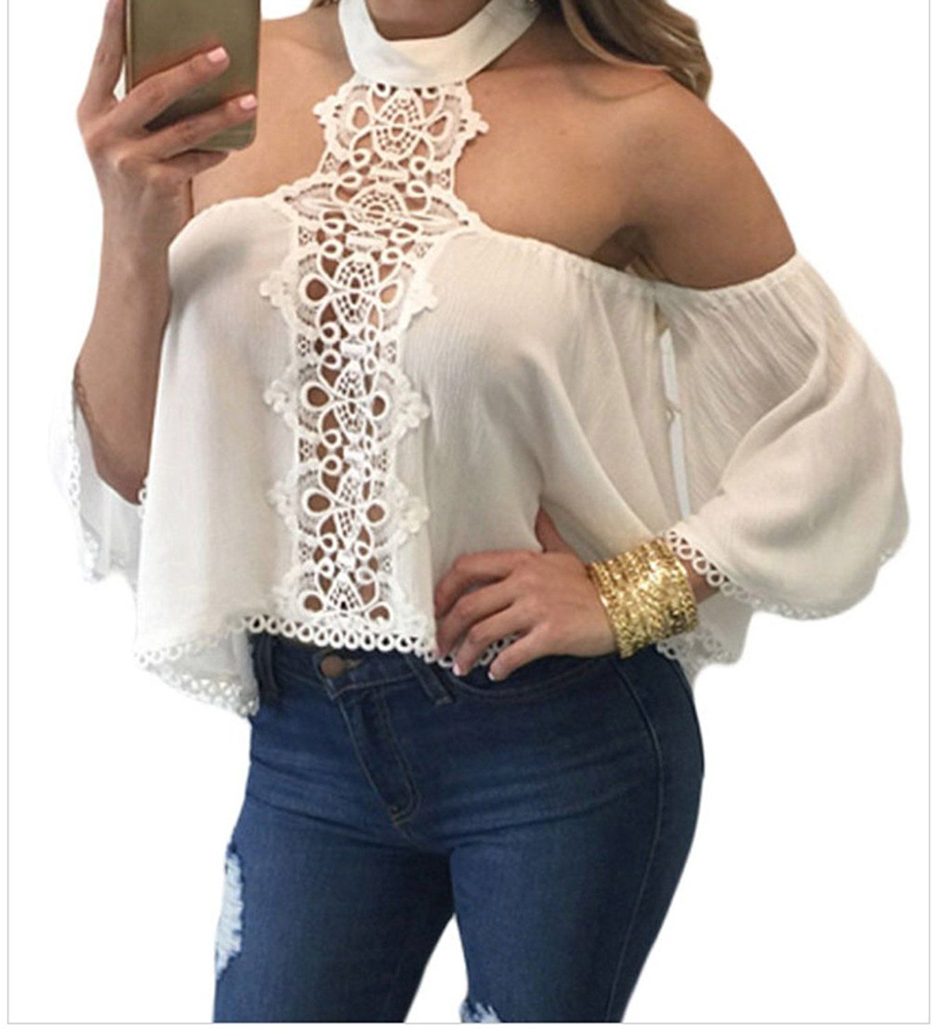 d992a68aa7dd7a Christmas YFFaye Women s White Chocker Neck Bare Shoulders Flare Crop Top      For more information