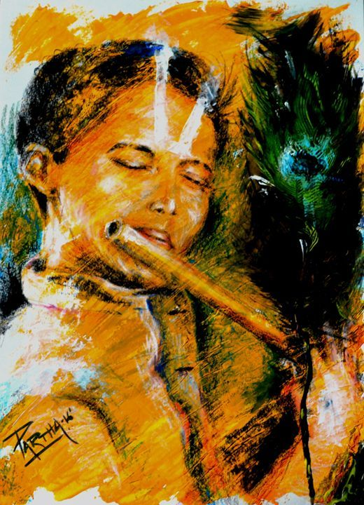 The Flute player - Partha - Paintings & Prints Ethnic Cultural & Tribal Other… | ArtPal thumbnail