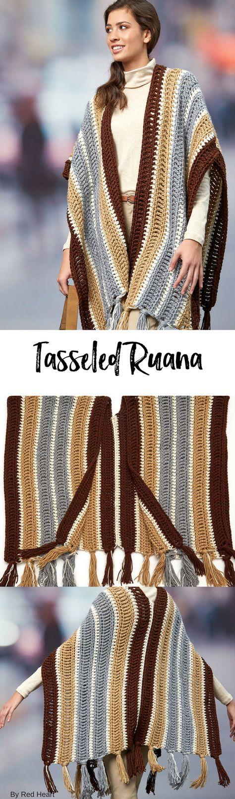 Tasseled Ruana free crochet pattern in Soft. | patron veste En rond ...