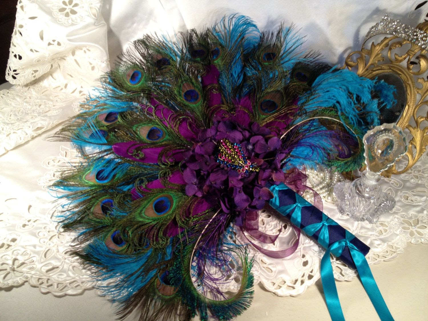 Peacock Feather Purple And Teal Wedding Bridal Bouquet Fan Keepsake Quinceanera 24000 Via
