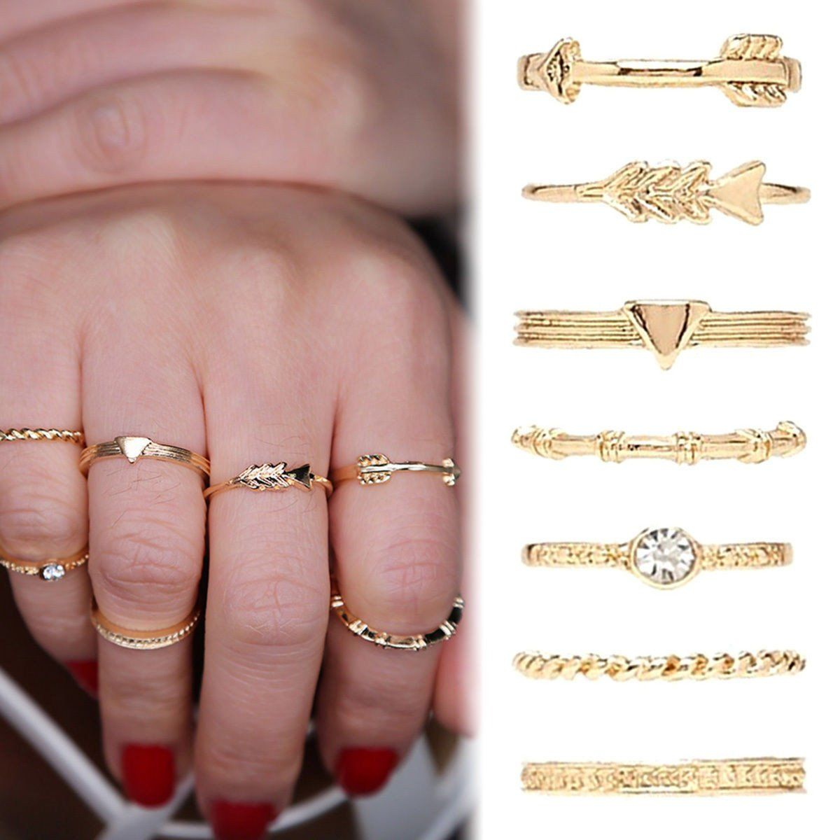 New 7PCS/Set Fashion Vintage Gold Carved Crystal Moon Midi Knuckle ...