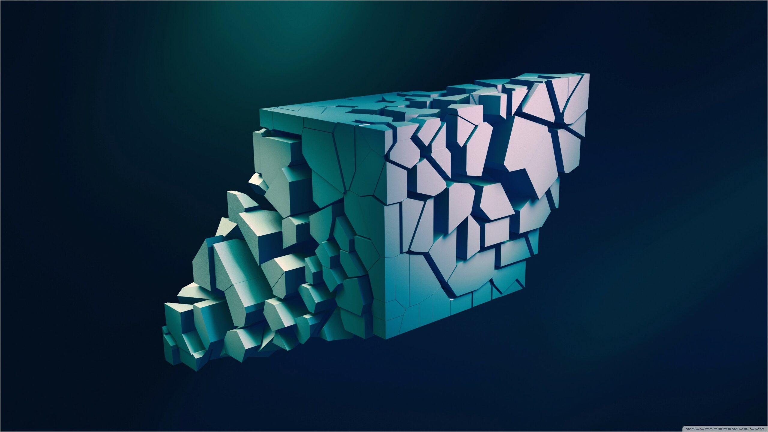 Abstract 3d 4k Wallpaper 3d Cube Wallpaper Wallpaper Gallery Blue Abstract Art