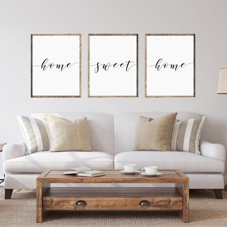 Home Sweet Home Sign Set Living Room Decor Bedroom Print Etsy Living Room Quotes Living Room Prints Sweet Home