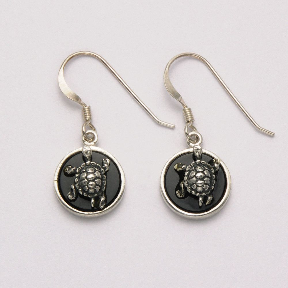 Onyx Circle with Raised Turtle Earrings