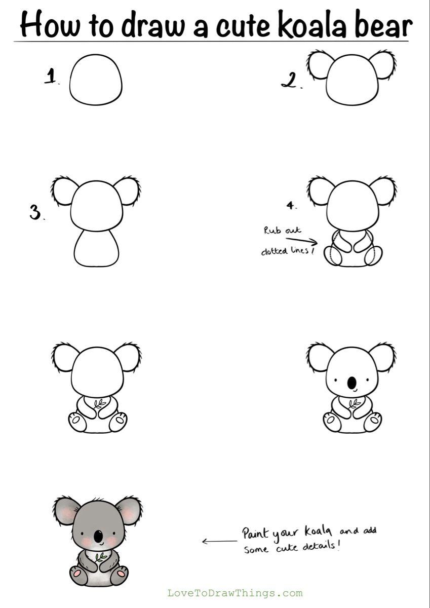 How To Draw A Cute Koala Bear In 6 Steps In 2021 Cute Easy Drawings Easy Doodles Drawings Easy Drawings For Kids