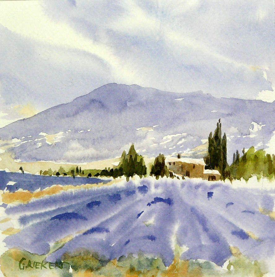 Lavender Fields In Provence Paysage Aquarelle Peinture Paysage