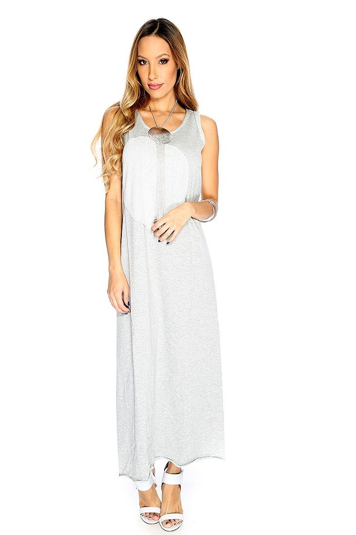 Slip into comfort and style in this maxi casual dress featuring; coop neck, sleeveless, middle patch detail, and fitted. 75% Cotton 25% Polyester.