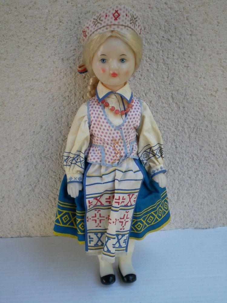 Vintage Lithuania USSR 11  Plastic Doll Soviet Union Russian 80s Rare