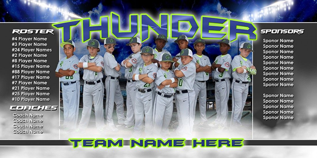 Player & team banner sports photo template up in smoke.