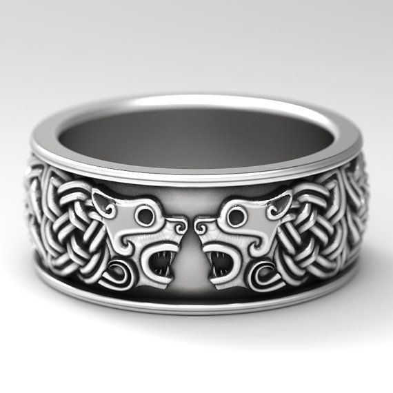 Celtic Hound Ring Dog Wedding Band Jewelry Made Sterling Silver