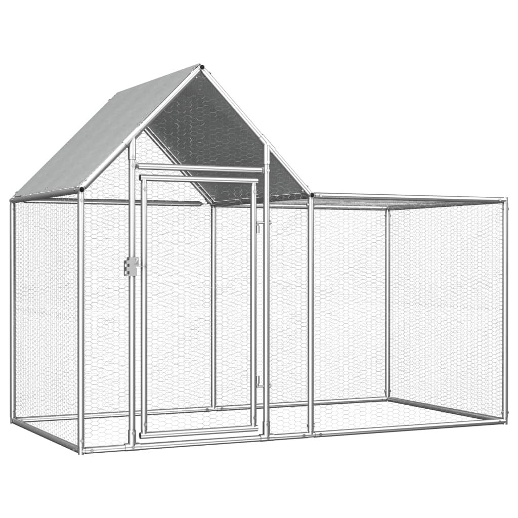 vidaXL Chicken Coop 2x1x1.5 m Galvanised Steel 144553