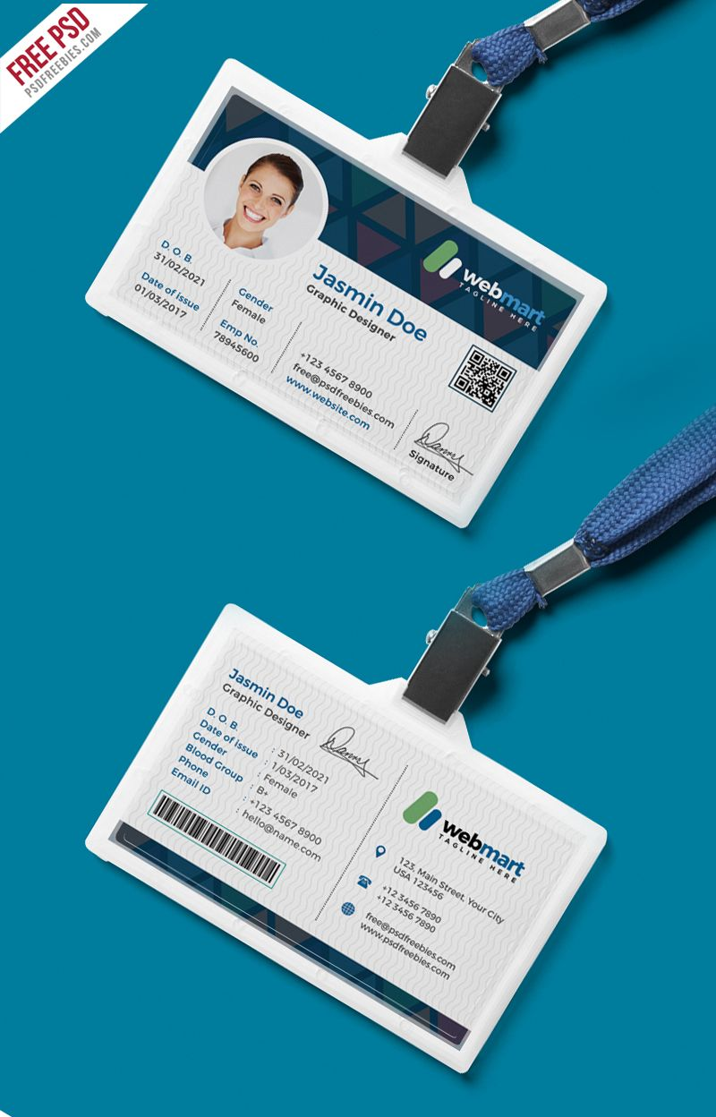 Office Id Card Design Psd Psdfreebies Com Id Card Template Identity Card Design Card Design