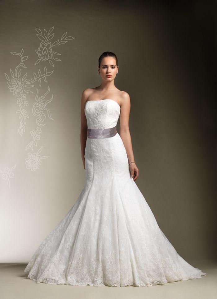 Sophisticated Mermaid Style Lace Satin Sash Strapless Wedding ...