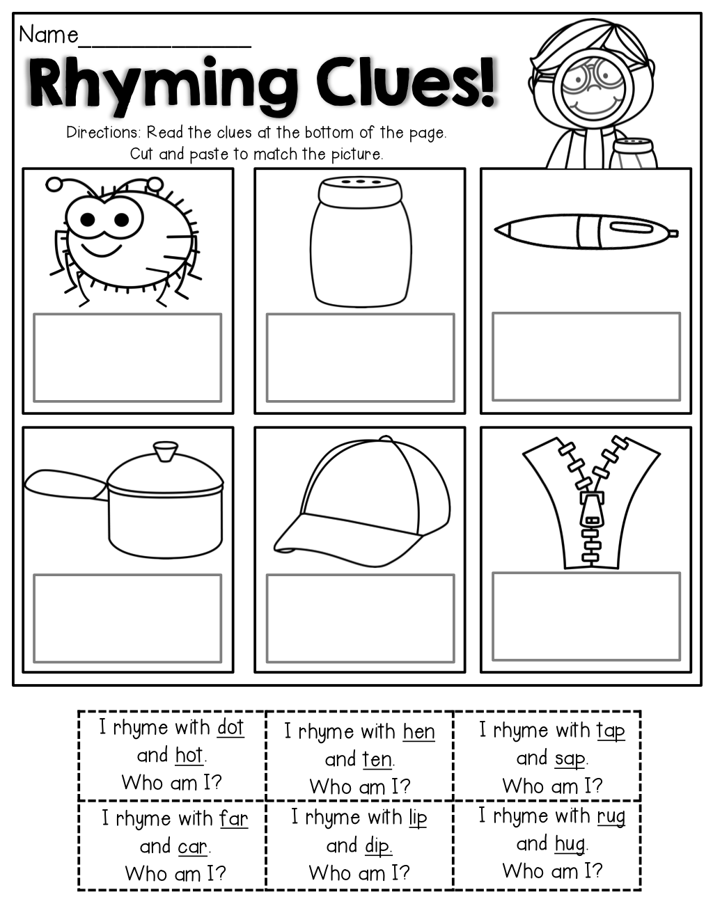 worksheet Kindergarten Rhyming Worksheets read the simple clues that have rhyming words match picture great for beginning
