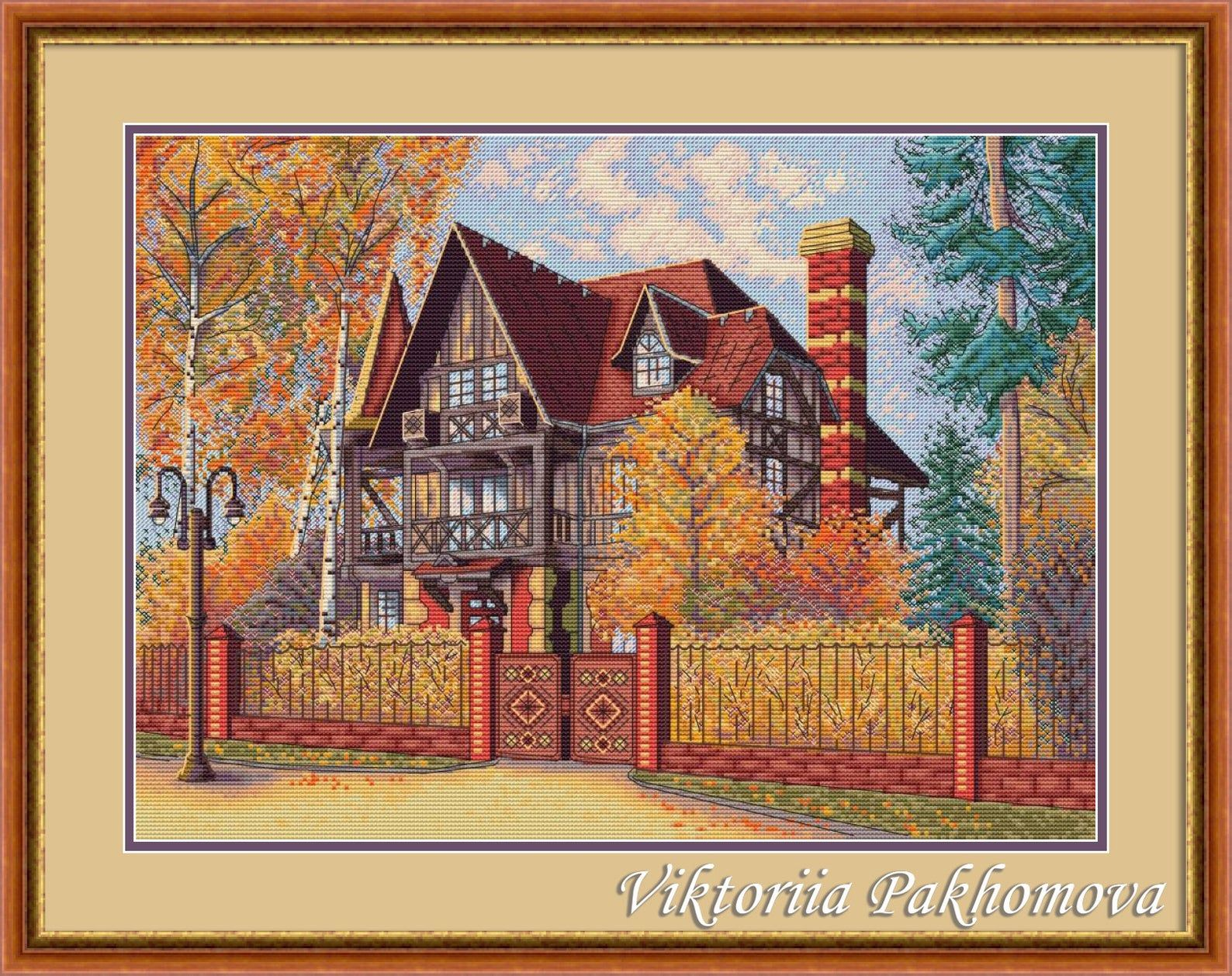 COUNTED CROSS STITCH CHART QUAINT LITTLE COTTAGE