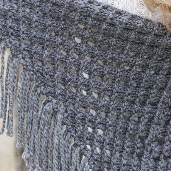 Loom Knit Eyelet Triangle Shawl PATTERN. Lace Scarf loom knitting ...