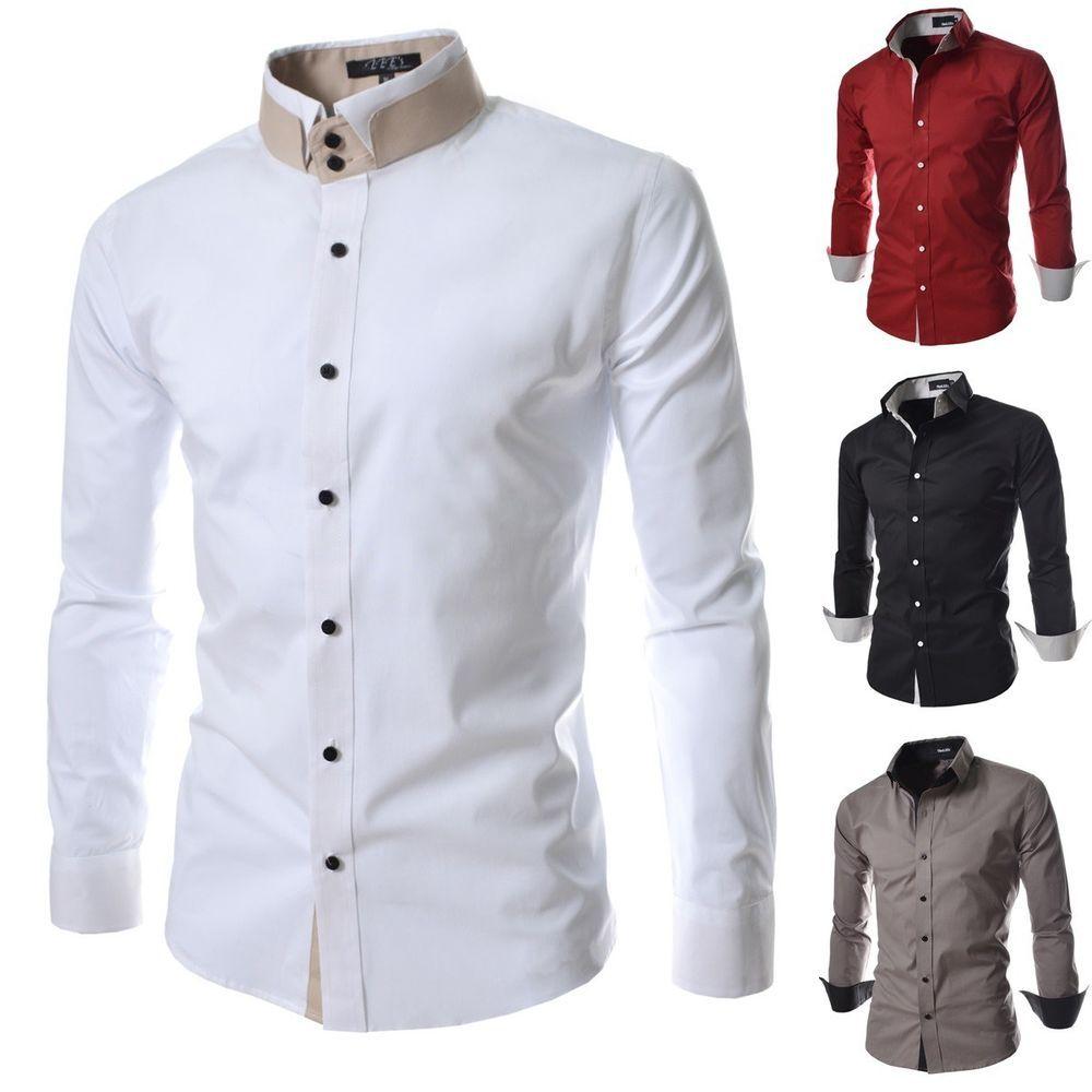 Men Double Mandarin Collar Button Down Dressy Shirts 100