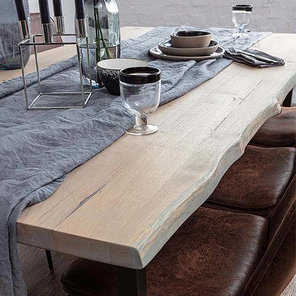 Amalfi Industrial H Bar Rustic Oak Dining Table Oak Dining Table