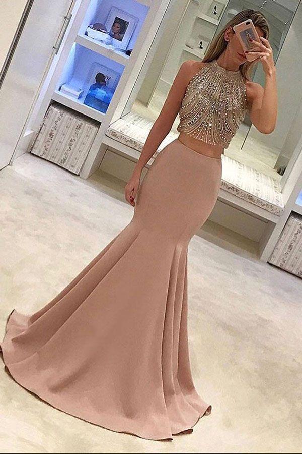 Two Piece Mermaid Jewel Sweep Train Blush Prom Dress with Beading