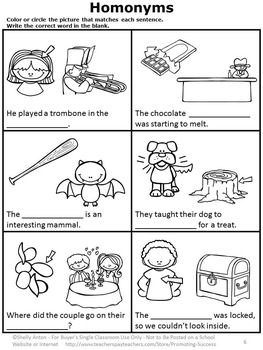 Homonyms Worksheets, ESL Vocabulary, Speech Therapy