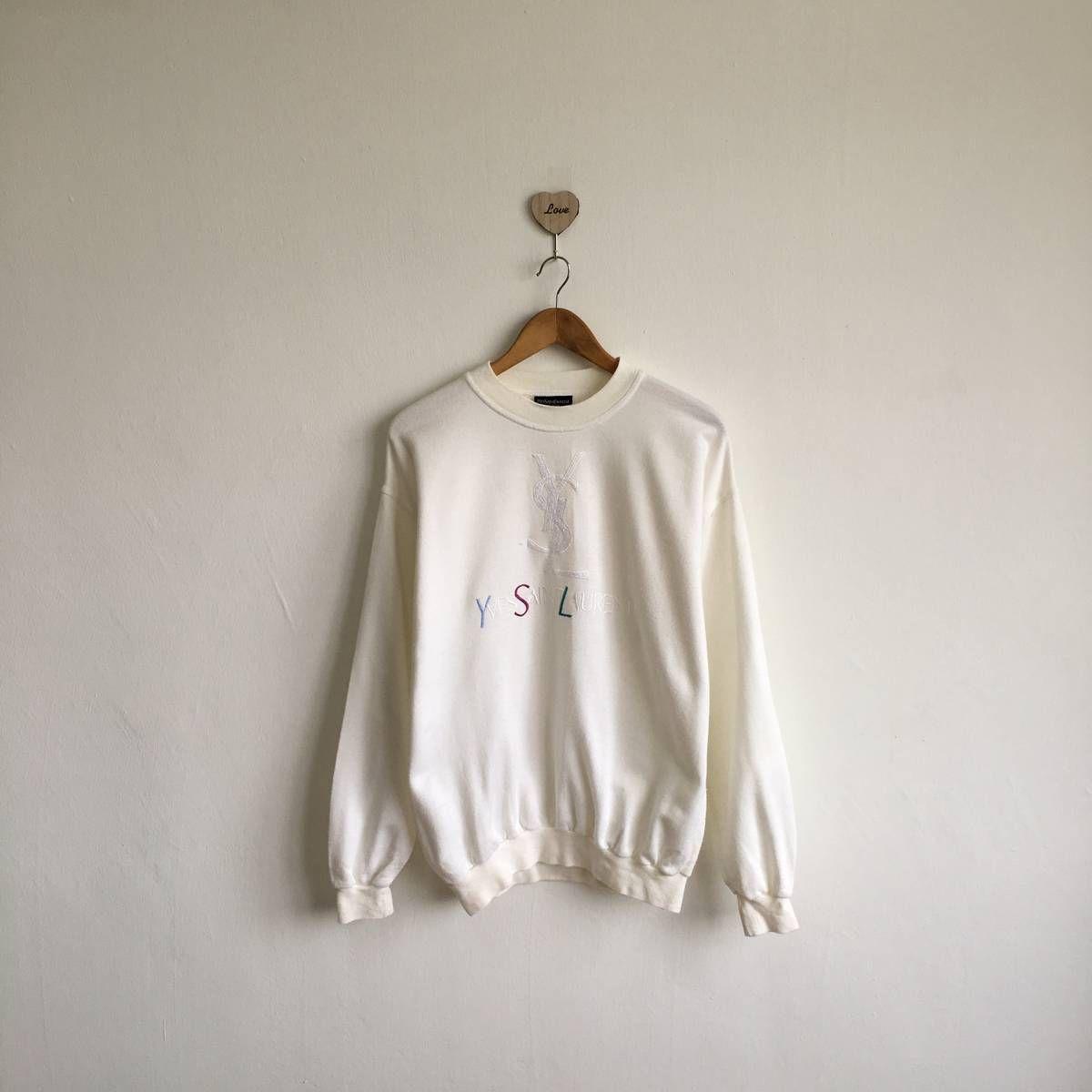 17a746c0 Ysl Pour Homme Rare !! Vintage 80s/90s YVES SAINT LAURENT Pour Homme  Embroidered Logo Rainbow White Sweatshirt Pullover Jumper Size Medium Size  m ...