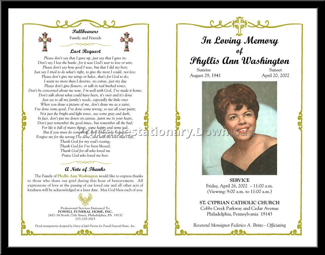 Celebration Of Life Templates For Word Free